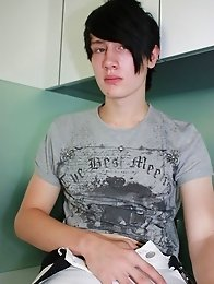 Emo boy Alex gets sexier as he pulls off his street wear and shows off his big cock