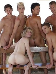 Gang Bang: 6 Horny Twinks & Studs Dish Up A Spunktastic Bareback Poolside Orgy!