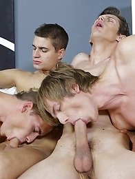 Gang Bang: Cock-crazed foursome dishes up oodles of hot twink jizz!